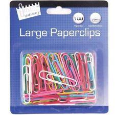 Lot de 100 jumbo grand papier de couleur clips bureau école statiomery