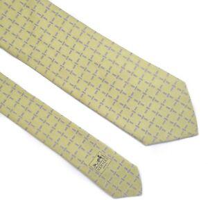 HERMES TIE Monogram Geometric H on Light Green Classic Heavy Silk Necktie