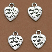 25pcs Made With Love Charms Pendants Jewelry Accessories Heart Beads SP