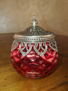 Victorian Trading Co Red Mercury Wavy Glass Jar with Ornate Metal Lid 72D