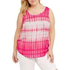 33a8192a0967 Faded Glory Woven Tank Top Size 3x Elegant Pink Tie Dye Sleeveless Plus  22w-24w