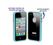 funda carcasa BUMPER para IPHONE 4 4S BOTONES METALICOS COLOR AZUL