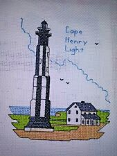 CAPE HENRY LIGHTHOUSE. Finished counted cross stitch.