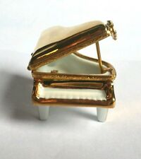 Artoria Hand Painted Porcelain Limoges Gold Grand Piano Trinket Box