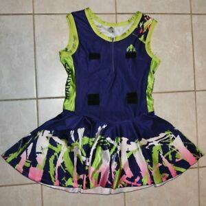 Netball Bodysuit Dress, Purple, Green, White and Pink, Size Large, Marines