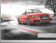 AUDI RS 5 CABRIOLET ILLUSTRATED PRICES/SPECIFICATION SALES BROCHURE JANUARY 2014