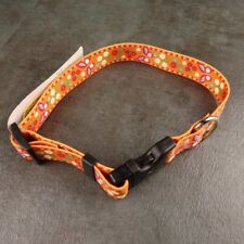 Adjustable Dog Collar Festive Butterflies Yellow Dog Design Size Medium 14-20 in