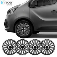 "16/"" 16 pulgadas rueda Opel Vivaro Van AdornosTapacuboscubre Conjunto de 4 Negro"