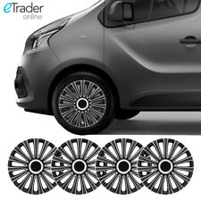 "16"" Vauxhall Vivaro Wheel Trims Van Hubcaps Set of 4 Black & Silver Quality New"