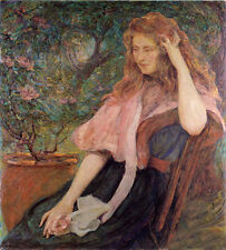 Art Oil painting Robert Lewis Reid - The Pink Cape Young lady seated with roses