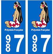 987 Hinano Polynésie plaque immatriculation auto autocollant stickers tahiti