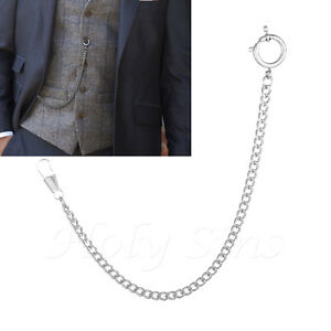 Brand New  Silver Colour Albert Pocket Watch Chain With Spring Ring