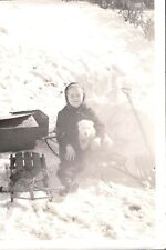 Vintage Photograph 1930-40'S Little Girl Sled Fox Terrier Dog? Puppy Old Photo