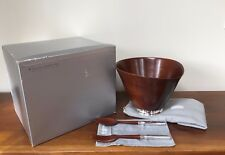 Georg Jensen MAHOGANY STERLING SILVER Salad Bowl with Serving Utensils