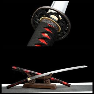 NNEW Japanese Samurai Sword KATANA 1060 Carbon Steel Full Tang Blade Can Cut Tre