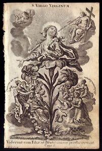 VIRGO VIRGINUM . Antique PRINT 1700s Copper etching KLAUBER