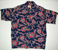 Vintage NALU Board Shorts Cotton Hawaiian Shirt Sz L 90s Buffalo Wave Surf Shirt