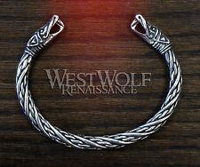 Smaller Size Viking Dragon Bracelet/Torc -- Norse/Medieval/Serpent/Silver/Bangle