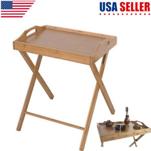 Portable Bamboo Folding Wood Tray Dinner Table Coffee Stand Snack Folding Table