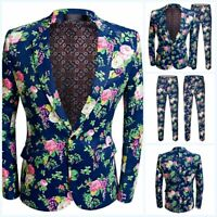 Men's Printed Floral 2PCS Suit One Button Party dress Wedding Formal Casual Prom