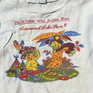 Vintage 40s 50s Kids Toddler Children's Distressed Indian T Shirt Conneaut Lake