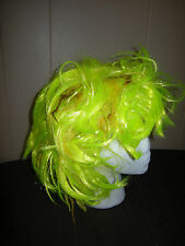 Neon Yellow Feather Hair WIG, One Size, Anime Sexy Zombie Party Rave Costume