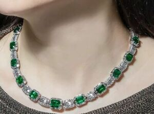 Emerald Cut 81.25CT Emerald With Very Clear 25.17CT CZ Choker Fashion Necklace
