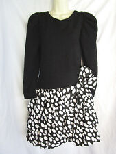 Betsy & Adam Black Crinkle Top Polka Dots Bubble Tier Skirt Party Dress 9/10