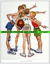 "RARE, NORMAN ROCKWELL ""SPORTS"" BASKETBALL ILLUSTRATION ARTWORK REPRINT 11""x14"""