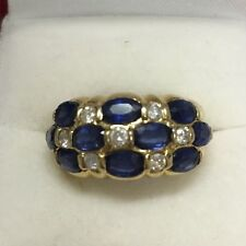 Diamond and FINE Sapphire Heavy Solid 14K Yellow Gold Ring 2.92tcw Size 6