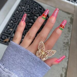 Crystal Butterfly Ring Gem Stone Opening Big Knuckle Rings for Women Jewelry UK