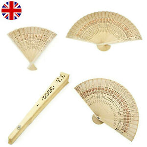 Wooden Bamboo Hand Folding Held Fan Leaf Art Curved Dance Wedding Party Holidays