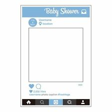 1 Piece Large Size Baby Shower Party Props Photo Booth Selfie Frame Boy Blue DIY