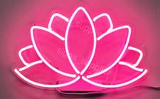 "New Lotus Flower Wall Decor Artwork Real Glass Acrylic Neon Light Sign 14""x10"""