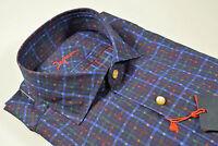 Camicia slim fit Ingram Blu a quadri collo alla francese in puro cotone lavato