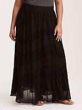 Torrid Lace Inset Chiffon Maxi Skirt Black 1X 14 16 1 #39490