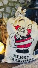 Arpillera blanca Yute Saco VINTAGE Navidad Stocking Santa tradicional Extra Grande Bolsa