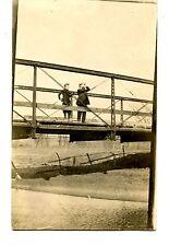 Man & Boy on Metal Bridge Look Up-Binoculars-RPPC-Vintage Real Photo Postcard