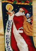 """Wool Needlepoint Christmas Stocking Vtg Old World Santa with Toy Sack Panda 23"""""""