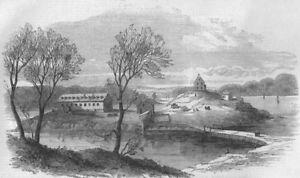 HALIFAX. Barracks of the Foreign Legion, Melville Island. Canada, print, 1855