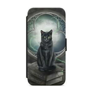Black Cat Gothic Mystical WALLET FLIP PHONE CASE COVER FOR iPhone Samsung   z106