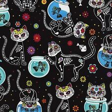 Halloween 100% Cotton Fabric Day of the Dead Cats Timeless Treasures 1/2 mtr
