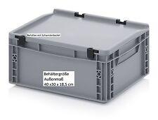 Kunststoff Behälter mit Scharnier-Deckel 40x30x18,5 cm Lager Transport stapelbar