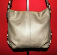 COACH Pewter Pebbled Leather Shoulder Hobo Convertible Duffel Purse Bag 15064