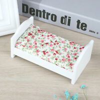 1/12 Dollhouse Miniature Wooden Bed With Pillow Dollhouse Bedroom Furniture V7N