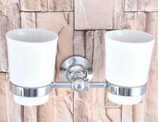 Polished Chrome Wall Mounted Toothbrush Holder with Double Ceramic Cups aba798