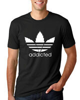 Addicted White Pot Leaf Mens Weed T Shirt Graphic Parody Tee