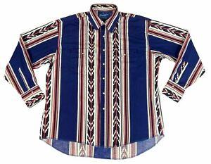 Wrangler Mens Western Southwestern Aztec Striped Pearl Snap Long Sleeve Shirt XL