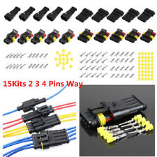 15 Sets 2 3 4 Pins Way Sealed Electrical Wire Connector Plug Car Auto Waterproof