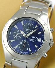 SEIKO Chronograph SND563 SND563P1 Men Blue Dial Stainless Steel Watch